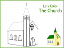 Green Border Let's Color the Church Worksheet