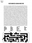 Printable Adam and Eve Word Search Church Worksheet