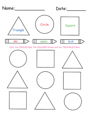 Coloring Shapes Printable Lessons