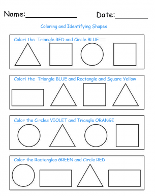 Identify and Color Shapes Printable Worksheets