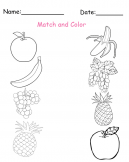 Printable Match and Color Fruit Worksheets