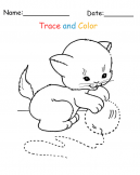 Printable Cat Trace and Color Pages