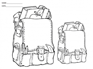 Printable School Bags Coloring Sheets