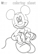 Sitting Mickey Mouse Printable Coloring Pages