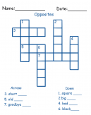Opposites Crossword Printable Puzzles