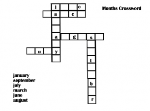 Printable Months Crossword Puzzles