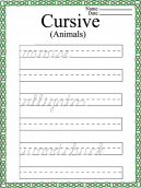 Printable Cursive Words Worksheets