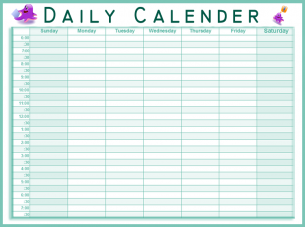 Daily Calendar Time Slot | Calendar Template 2016