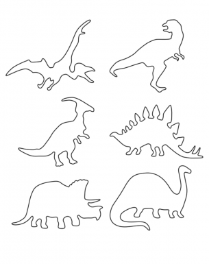 Multiple dinosaur stencils printable crafts for Dinosaur templates to print