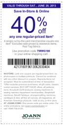 Printable Joann Fabrics Coupons