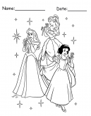 Three Princesses Disney Printable Coloring Pages