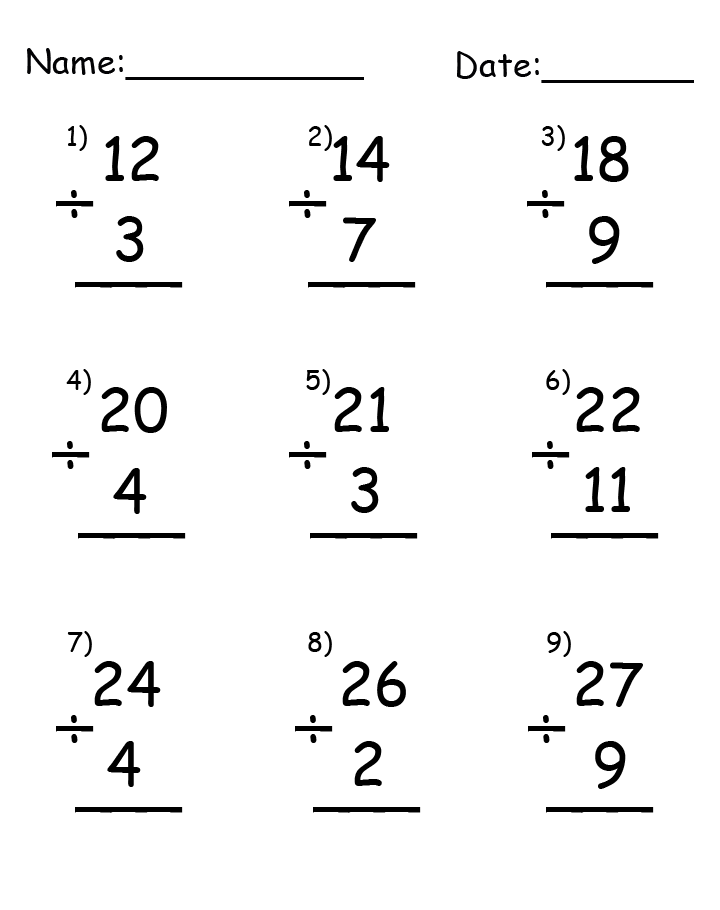 Division Up to 27 Printable Worksheets