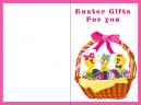 Pink Easter Basket Printable Easter Card