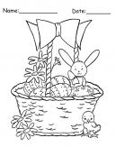 Bunny and Chick Basket Easter Printable Coloring Pages
