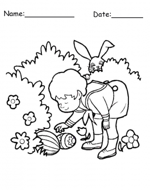 egg hunt coloring pages | Egg Hunt Surprise Easter Printable Coloring Pages