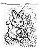 Happy Girl Rabbit Easter Printable Coloring Pages