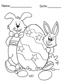 Two Rabbits With Egg Easter Printable Coloring Pages