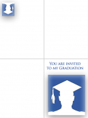 Printable Blue Cap Graduation Invitations