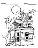 Haunted House Printable Halloween Coloring Page