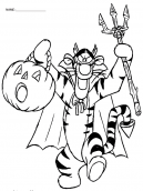 Pooh and Tigger Halloween Coloring Sheets