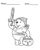 Pooh Printable Halloween Coloring Page