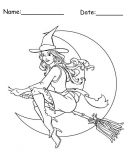 Witch Printable Halloween Coloring Page