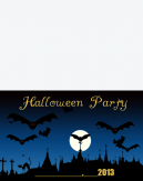 Bats and Moon Halloween Printable Invitations