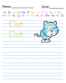 Trace the Word Cat Printable Worksheets