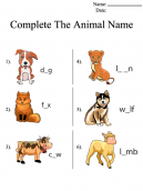 Animal Names Printable Worksheets