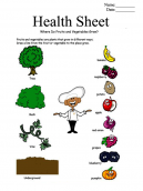 Food Health Printable Worksheets