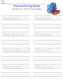 Printable B Words Kids Worksheets
