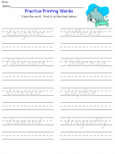 Printable D Words Kids Worksheets