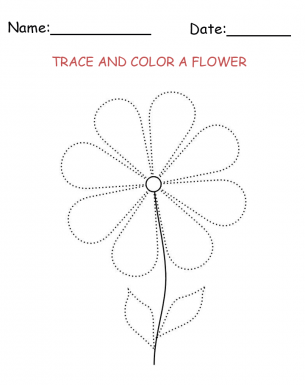 Tracing and Coloring Flower Printable