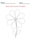 Tracing and Coloring Flower Printable Activities
