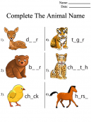 Fill in Animal Names Printable Worksheets