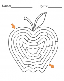 Printable Apple Shape Maze Games