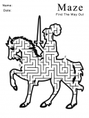 Printable Knight On Horse Maze Games