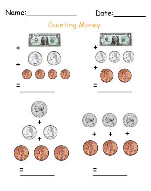 counting dollars and cents printable worksheets. Black Bedroom Furniture Sets. Home Design Ideas