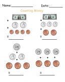 Counting Dollars and Cents Printable Worksheets