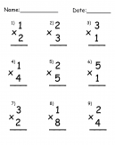 Multiplication by 1s Printable Worksheets