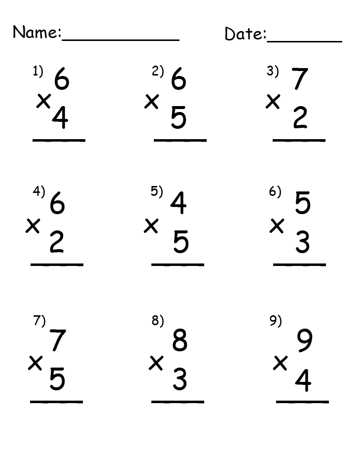 Single Digit Multiplication Printable Worksheets