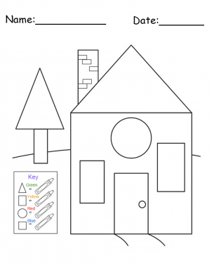 Free Printable House Shapes Worksheet on color drawings of houses