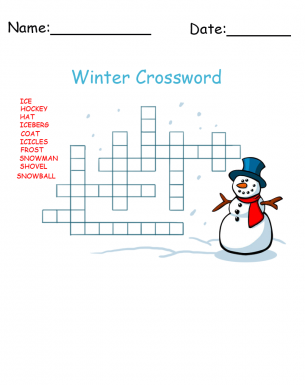 Winter Snowman Crossword Printable Games