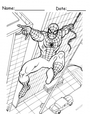 Building Swing Spiderman Printable Coloring Pages