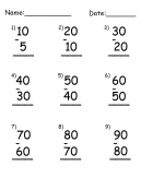 Subtraction by Tens Printable Worksheets