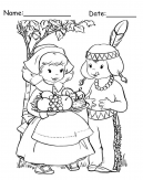 pilgrim boy and girl coloring pages | Happy Thanksgiving Day Printable Coloring Page