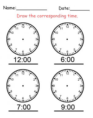 Clock Hand Time Worksheet