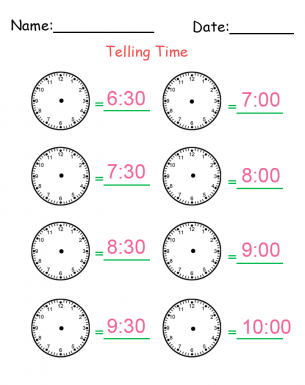 Telling Time Worksheets Printable - Rringband