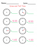 Printable Draw and Tell Time Worksheets