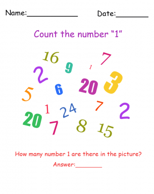 Printable Number 1 Visual Scanning Worksheet